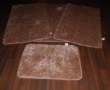 ROMANY GYPSY WASHABLES SPARKLY DESIGN SET OF 4PCS MATS NEW BEIGE/GOLD NON SLIP